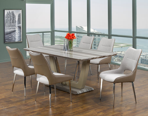Leonardo 7PC Dining Set - Two-Tone