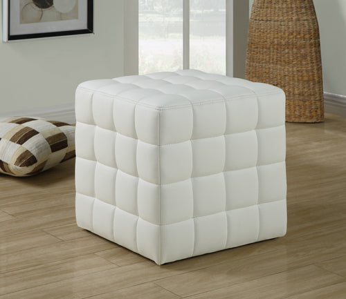 Candace & Basil Ottoman - White Leather-Look Fabric