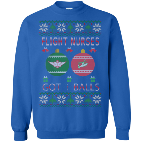 Flight Nurses Got Balls Ugly Sweater Gildan Crewneck Pullover Sweatshirt  8 oz.