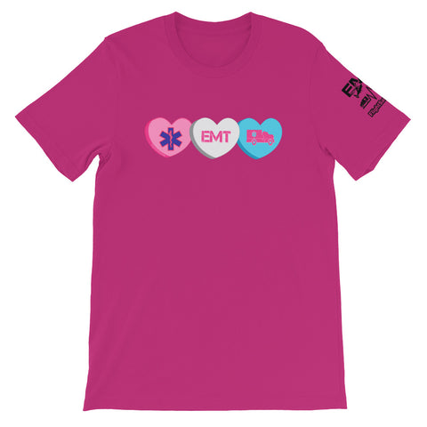 EMT Candy Hearts Short-Sleeve Unisex T-Shirt