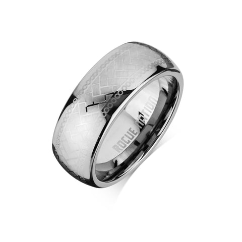 "Tungsten Carbide Mens Rings - Polished Men's Wedding Ring, 8mm Flat Tattooed Tungsten, Comfort Fit Band - ""BODHI"""
