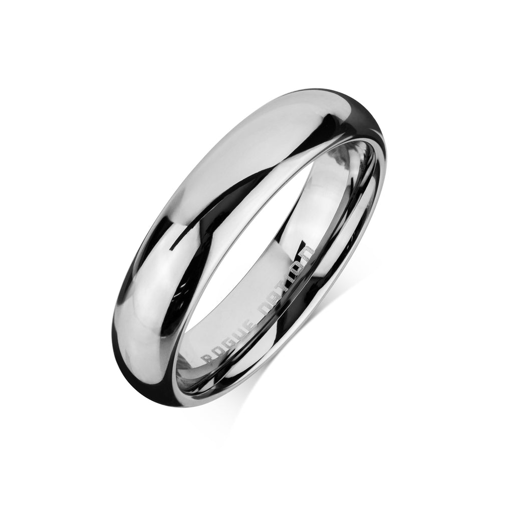 "Tungsten Carbide Mens Rings - Polished Men's Wedding Ring, 6mm Domed Tungsten, Comfort Fit Band - ""BRANDON"""