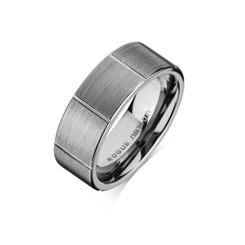 "Tungsten Carbide Mens Rings - Brushed Men's Wedding Ring, 8mm Flat Tungsten, Grooved, Comfort Fit Band - ""DENZEL"""