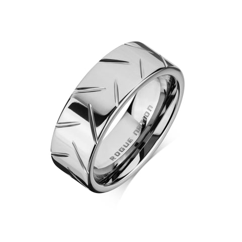 "Tungsten Carbide Mens Rings - Polished Men's Wedding Ring, 8mm Flat Scored Tungsten, Comfort Fit Band - ""DEUS"""