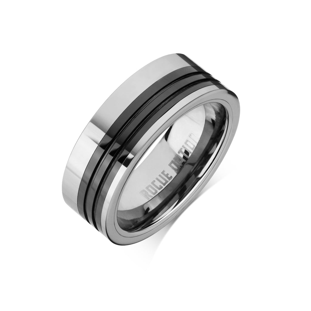 "Tungsten Carbide Mens Rings - Polished Men's Ring, 8mm Combo Black Ceramic Tungsten, Comfort Fit Band - ""DIESEL"""