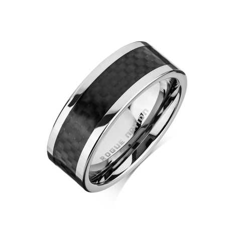 "Tungsten Carbide Mens Rings - Carbon Fiber Men's Wedding Ring, 8mm Flat Tungsten, Comfort Fit Band - ""ENZO"""