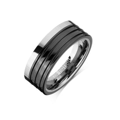 Tungsten Carbide Mens Rings - Black Combo Men's Ring, 8mm Grooved Tungsten, Comfort Fit Band -