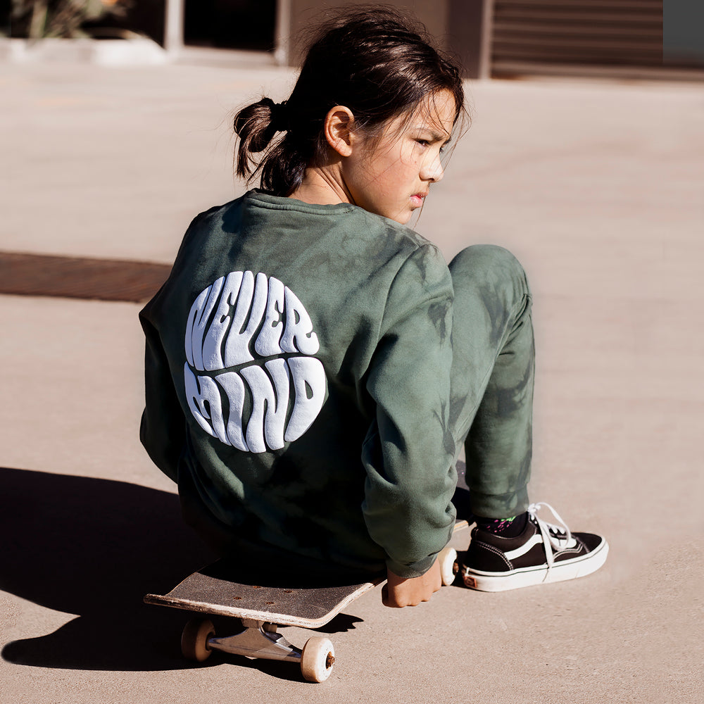 Alphabet Soup | Nevermind Crew - Tie Dye Green