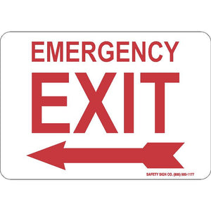 EMERGENCY EXIT (LEFT ARROW) (RED/WHITE)
