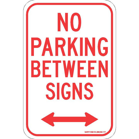 NO PARKING BETWEEN SIGNS (DOUBLE ARROW)