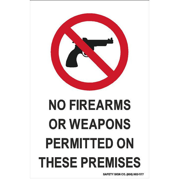(SYMBOL) NO FIREARMS OR WEAPONS PERMITTED ON COMPANY PROPERTY (STALAR® Vinyl Press On)