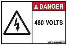 DANGER 480 VOLTS (STALAR® Vinyl Press On)