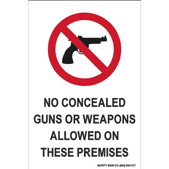 (SYMBOL) NO CONCEALED GUNS OR WEAPONS ALLOWED ON THESE PREMISES (STALAR® Vinyl Press On)