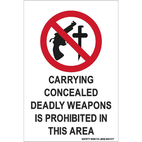 (SYMBOL) CARRYING CONCEALED DEADLY WEAPONS IS PROHIBITED IN THIS AREA (STALAR® Vinyl Press On)