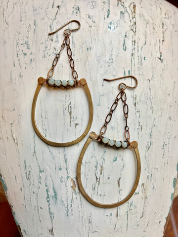 Chain, Wrapped Curved Bar & U Earrings
