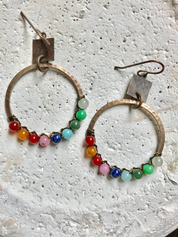 Square & Half Wrapped Hoop Earrings
