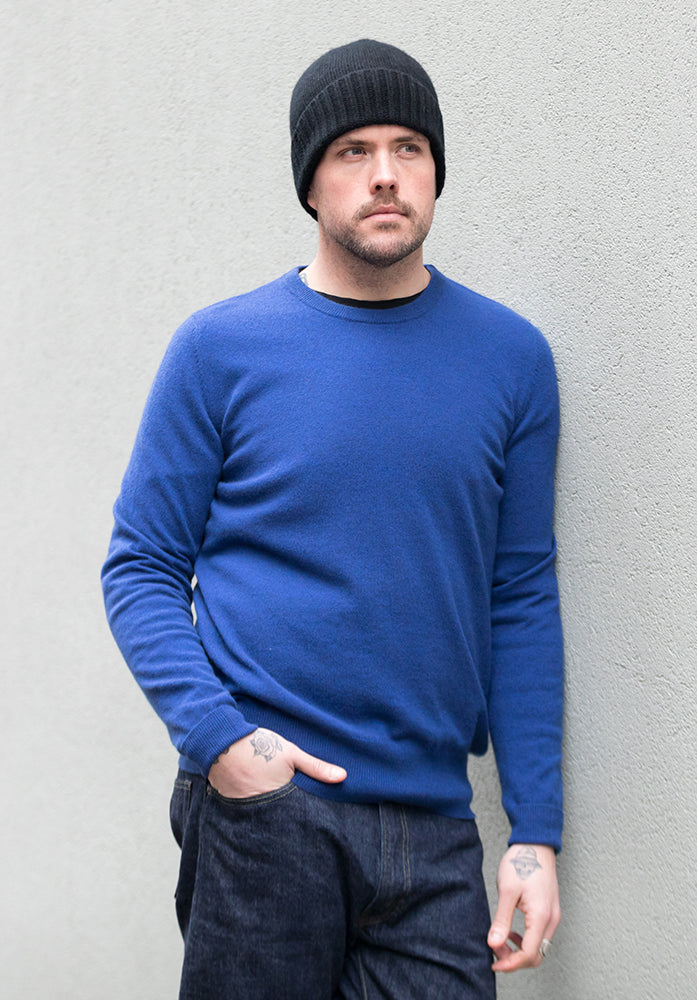 Cashmere Men's Round Neck - Blue
