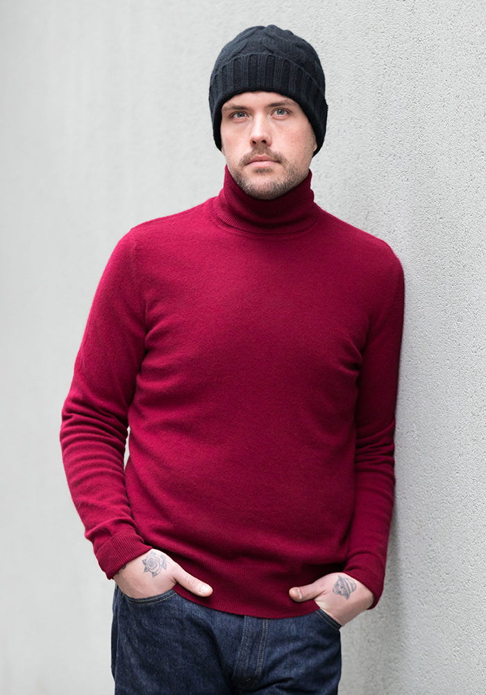 Cashmere Men's Turtle Neck - Burgundy