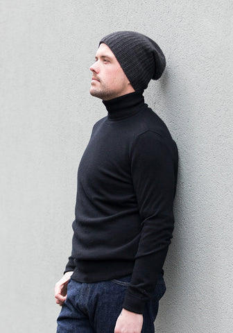 Cashmere Men's Turtle Neck - Black