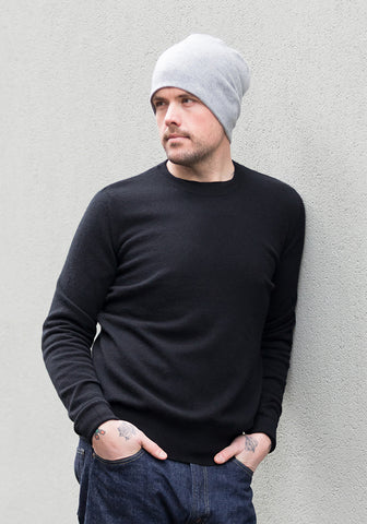 Cashmere Men's Round Neck - Black
