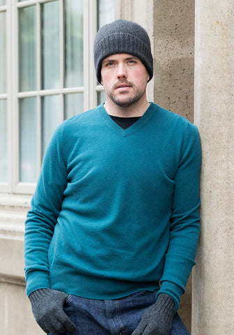 Cashmere Men's V-Neck - Teal