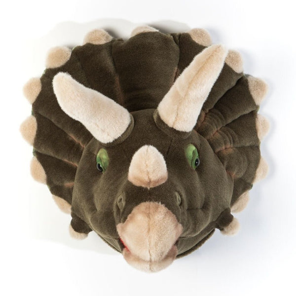 Wild and Soft Adam the Dinosaur head plush wall decor. Trophy Head.