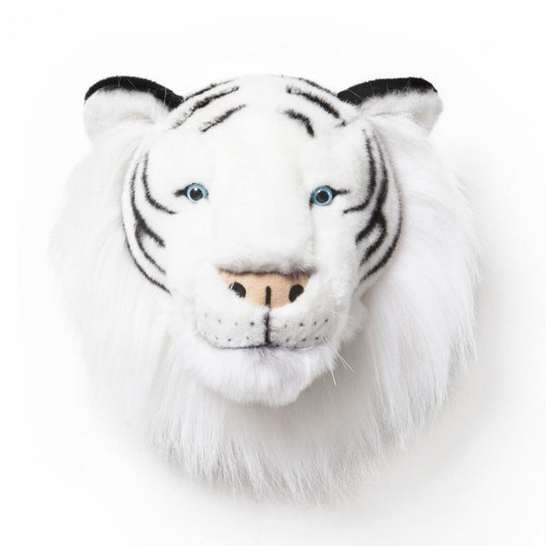 Wild and Soft Albert the white tiger head plush wall decor.