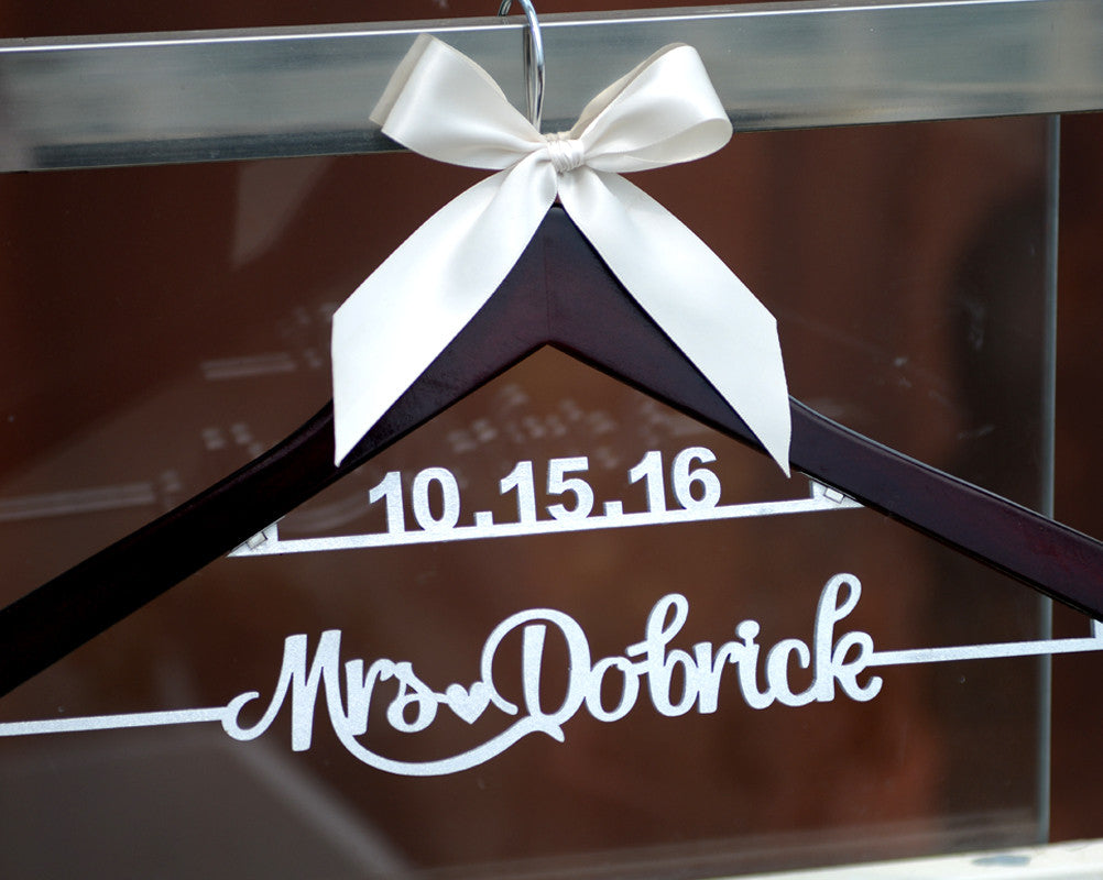 New-tech Wedding Hanger with Date , Personalized Rustic Wedding Dress Hanger, Custom Wood Bridal Last Name Hanger, Bridal Shower Gift LL009