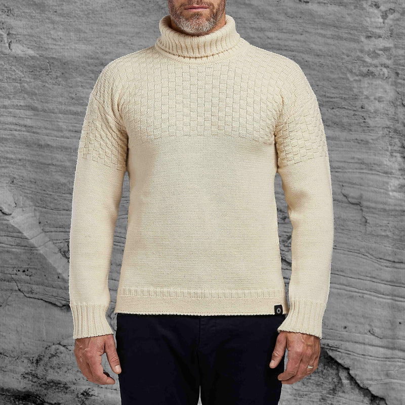 Shackleton Signature Lambswool Roll Neck Sweater | Cream