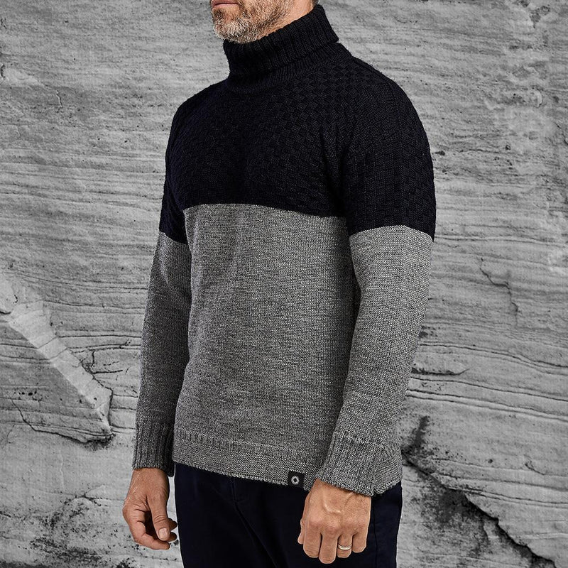 Shackleton Signature Lambswool Roll Neck Sweater | French Navy/Grey