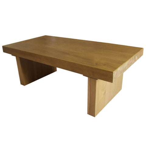 100mm thick solid oak beam table side