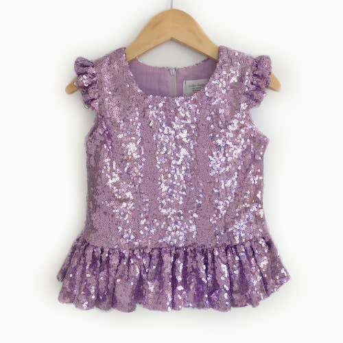 Lavender Sequin Peplum Top