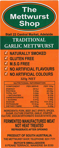 Traditional Garlic Mettwurst