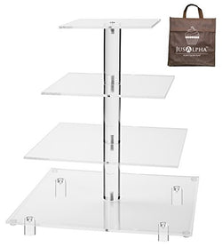 Jusalpha® 4 Tier Square Wedding Acrylic Cupcake Tower Stand-Cake Stand-Dessert Stand-Cupcake holder-Pastry serving platter (4 Tier With Rod Feet)