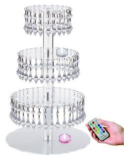 Jusalpha® Acrylic Cupcake Tower Stand with Hanging Crystal Bead-wedding Party Cake Tower (4 Tier with LED Tea Light)