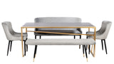 MC15D-GRY-Merlin Diamond Upholstered Bench in Gray