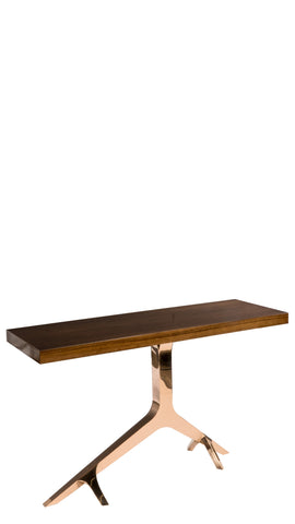 T-147-Rose Gold Branch Console Table with Brown Top