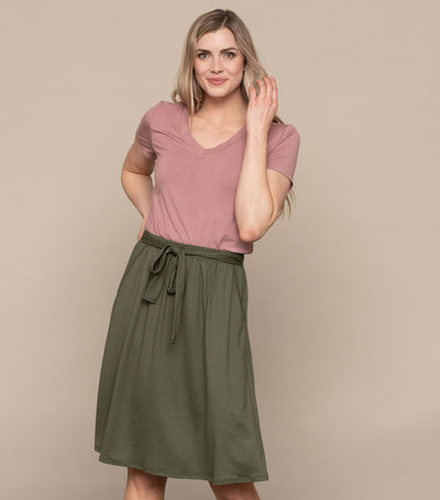 Tie Front Skirt with Pockets