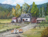 Artwork Corgi Matted Print 11 x 14 from the Painting THE HOMESTEAD