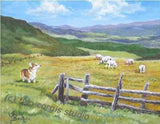 Artwork Corgi Matted Print 11 x 14 from the Painting GRAZING ON GOLDEN FIELDS