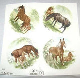 "Ceramic Decal MARE & FOAL Assorted Horse 2 3/4"" Decal 4 pieces"