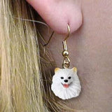 CLEARANCE Dangle Style AMERICAN ESKIMO MINI Dog Head Earrings Jewelry
