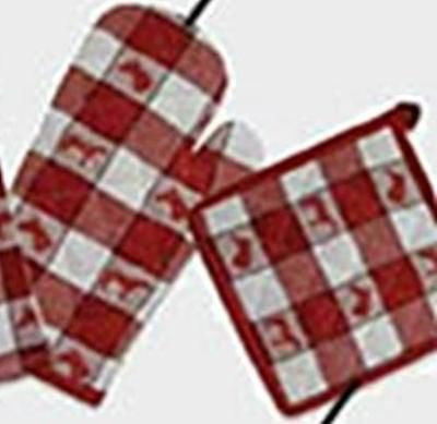 Horsey Kitchen HORSE Design Red Check Oven Mitt ONLY CLEARANCE SALE