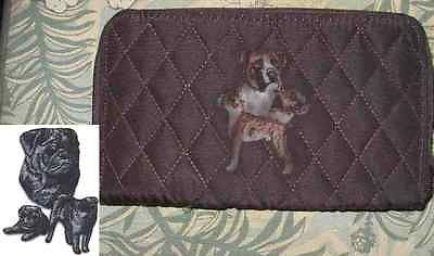 Belvah Quilted Fabric PUG BLACK Dog Breed Zip Around Brown Ladies Wallet