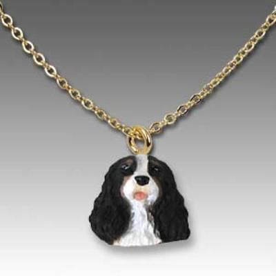 Dog on Chain CAVALIER KING CHARLES TRI Resin Dog Head Necklace Jewelry Pendant