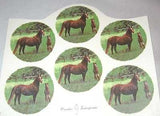 "Ceramic Decal MARE & FOAL in Field Horse 2 3/4"" Decal 7 pieces"