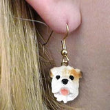 CLEARANCE Dangle Style BULLDOG WHITE Dog Head Earrings Jewelry