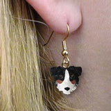 CLEARANCE Dangle Style AUSTRALIAN SHEPHERD TRI Dog Head Earrings Jewelry