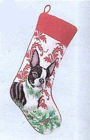Large Stocking BOSTON TERRIER Dog Breed Needlepoint Christmas Holiday Stocking