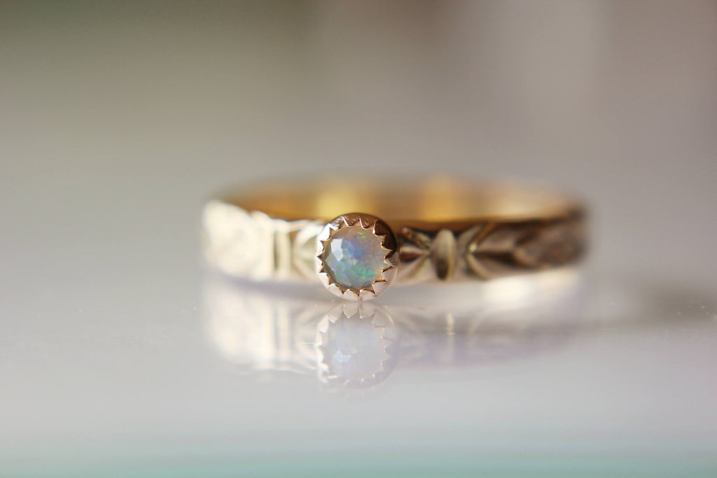 Opal Ring, Gold Opal Ring, Engagement Ring, Opal Engagement Ring, June Birthstone, Gemstone Stacking Ring, Faceted Opal Ring, Gift, Natural